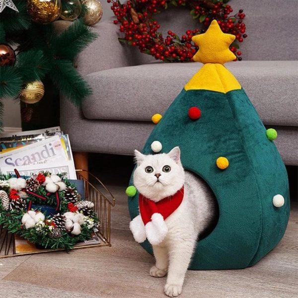 Nid de chat de no l doux chien chat lit maison arbre forme tapis de lit fbac605c 4334 4bb5 bc55 efd8d8904fb7 Lit De Chat De Noël: Gardez Vos Chats Au Chaud Les Jours Froids