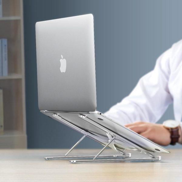 Support D'ordinateur Portable Pliable : Visualisation, Lecture Et Saisie Confortables - ARGENT