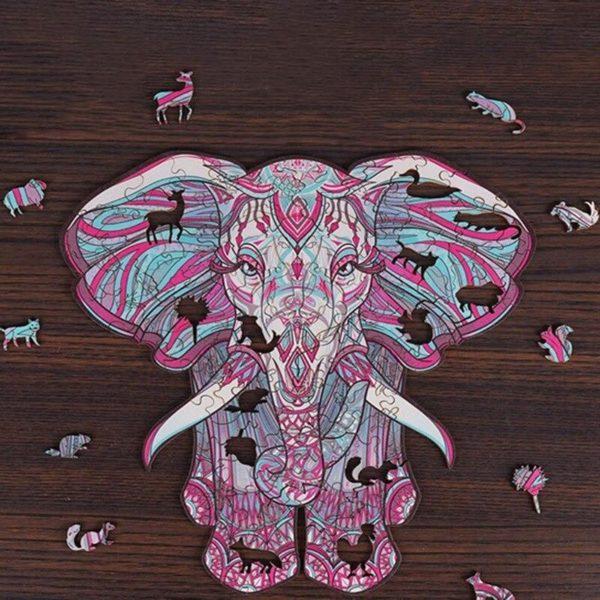 Puzzles D'animaux En Bois: Un Jeu Passionnant Qui Convient Aux Enfants Et Aux Adultes - Éléphant / A5