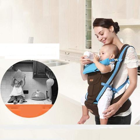 Respirante Porte-bébé Avec Siège De Hanche - Bleu