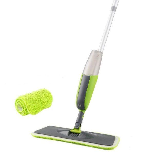 Serpillière Balai Microfibre À Spray Rotation 180 Magique: Pratique Et Très Efficace - Vert / 1 pcs