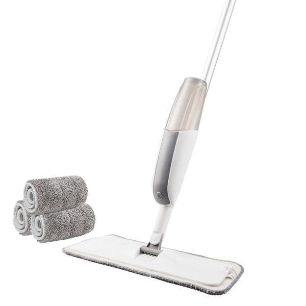 Serpillière Balai Microfibre À Spray Rotation 180 Magique: Pratique Et Très Efficace - Blanc / 3 pcs