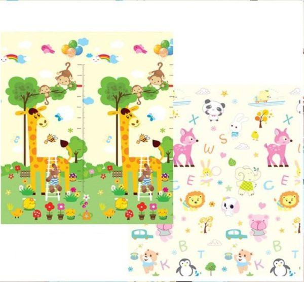 Tapis pliable - Tapis de jeu pour enfants - Girafe et Animaux / 180X200CM