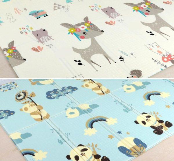 Tapis pliable - Tapis de jeu pour enfants - Panda et Cerf / 180X200CM