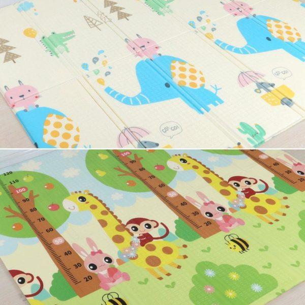 Tapis pliable - Tapis de jeu pour enfants - Éléphant et Girafe / 180X200CM