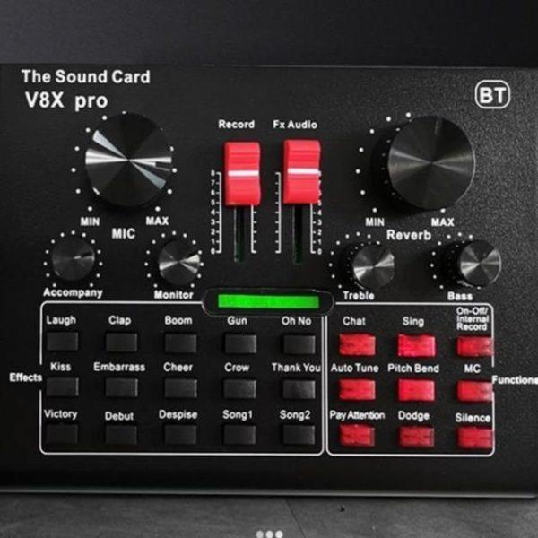 V8X PRO table de mixage Audio carte son en direct Interface Bluetooth USB 15 Modes de Carte Son V8X Pro: Qualité Sonore Au Niveau Des Studios