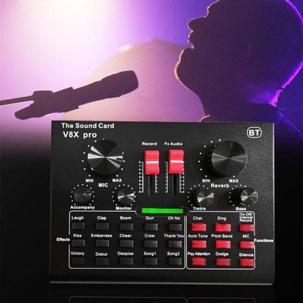V8X PRO table de mixage Audio carte son en direct Interface Bluetooth USB 15 Modes de 07f2d93b f8bc 414b a660 0d42c858baa7 Carte Son V8X Pro: Qualité Sonore Au Niveau Des Studios