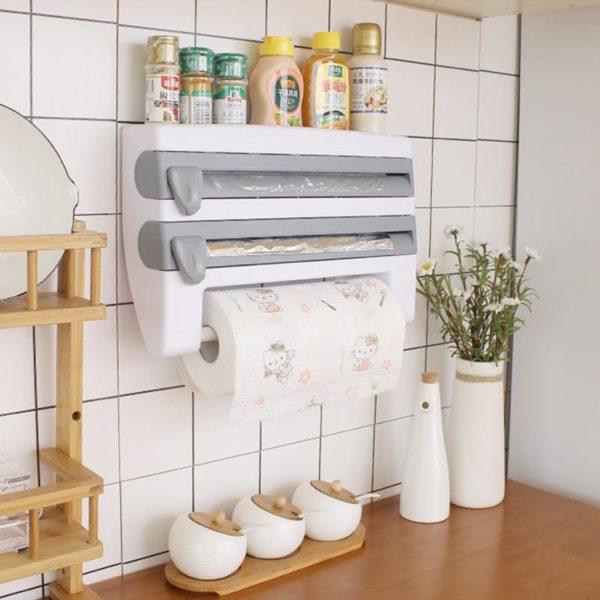 Wall Mount Paper Towel Holder Sauce Bottle Storage Rack Kitchen Organizer Preservative Film Dispenser Sauce Roll Porte Rouleau Distributeur 4 En 1: Tout Stocké Soigneusement Dans Un Seul Endroit