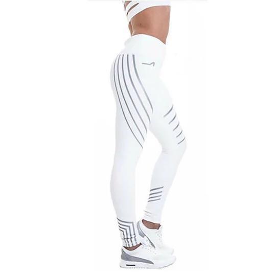 Pantalons de Yoga : Leggings Réfléchissants pour Femmes - BLANC / XL(70-78 cm)