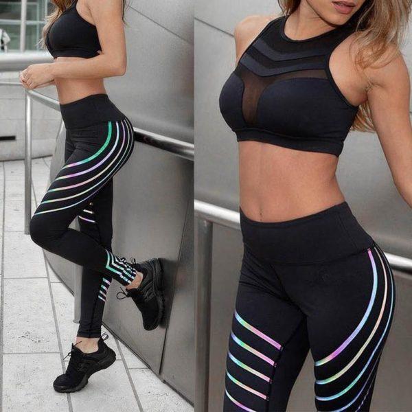 Pantalons de Yoga : Leggings Réfléchissants pour Femmes - NOIR / S(62-72 cm)