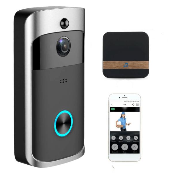 Caméra de Surveillance Sans Fil et Sonnette Connectée 720P - Sonnette vidéo + 3 piles+carillon