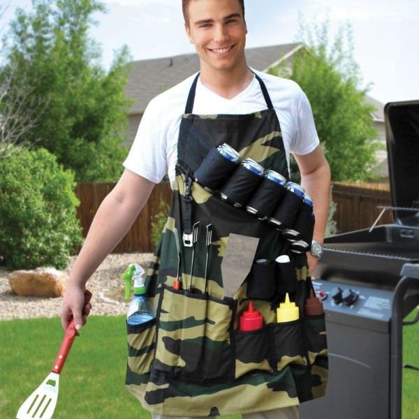 Tablier de Barbecue : Ensemble D'ustensiles de Barbecue Etanche Multi-Poches - VERT