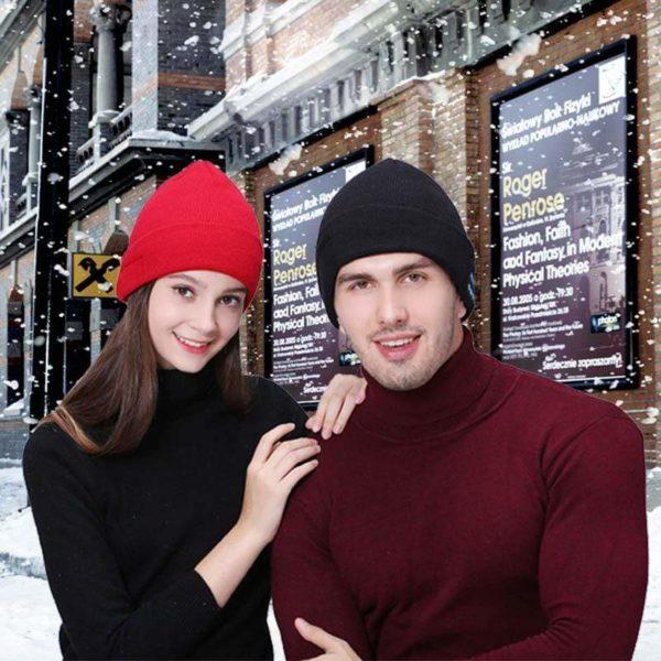 Bonnet D'hiver : Avec Haut-parleur Sans Fil Bluetooth - ROUGE