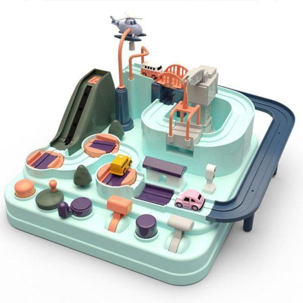 ducation wagon jouet cologique b b aventure jouet voiture Macaron couleur Table jeux gar on Puzzle Jeu Circuit de Véhicules : Aventures Écologiques et Éducatives