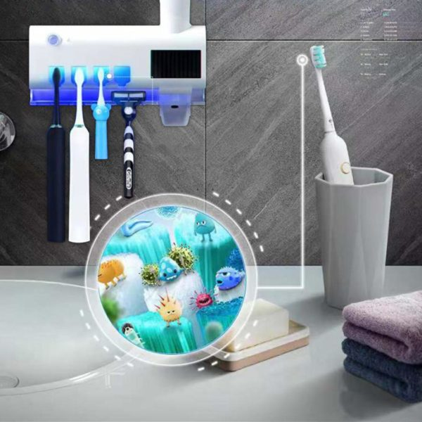 img 2 1024x1024 f9c9ff73 a00c 4bb1 a4d5 e1378354af8a Distributeur De Dentifrice Avec Stérilisateur: Lumière Rechargeable et Support Mural Pour Brosse À Dents