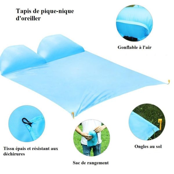 picnic airbag 22 Tapis de Pique-nique : Coussins D'air Gonflables et Imperméables