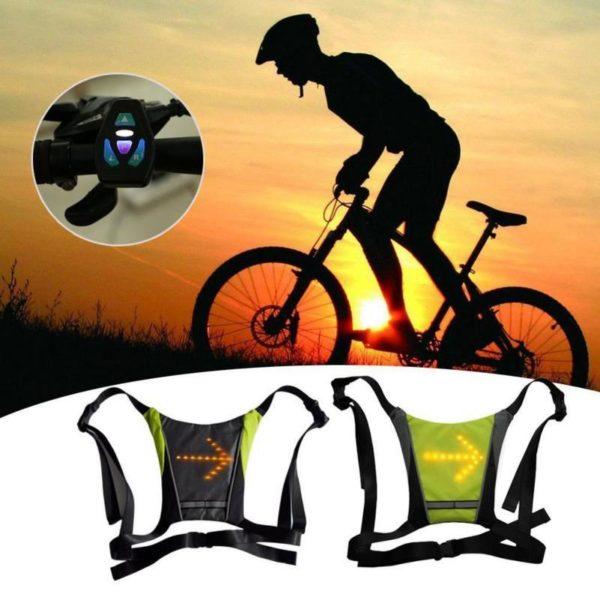 Sécurité Gilet de Cyclisme à LED : Rechargeable par USB - Noir