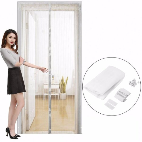 Moustic'air : Moustiquaire Anti-Insectes Pour Porte Avec Fermeture Aimantée - Blanc / 80 x 210cm
