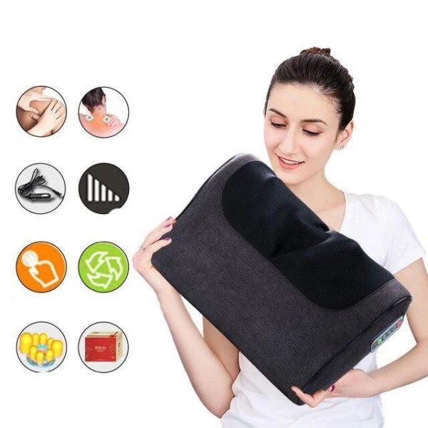 Coussin de Massage : Éliminer Diverses Tensions et Stress - noir à six boutons