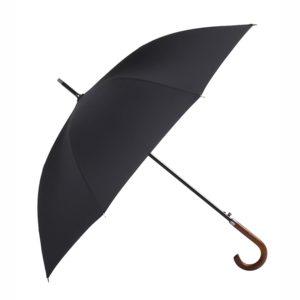 Parapluie noir pour homme avec une manche à bois