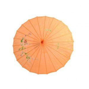 Ombrelle traditionnel en papier huilé de soie de couleur orange