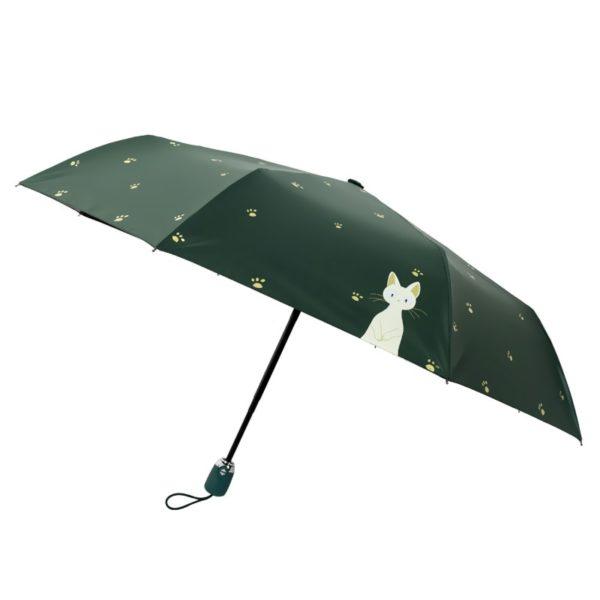 Parapluie femme vert à motif chat
