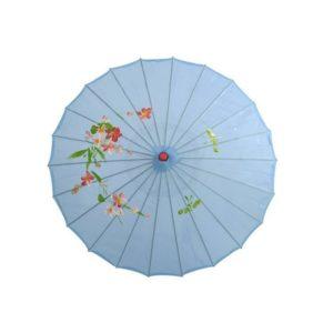 Ombrelle traditionnelle en papier huilé de couleur bleu