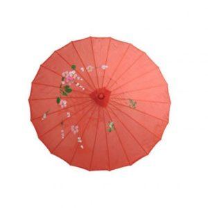 Ombrelle chinoise en papier huilé de soie de couleur rouge