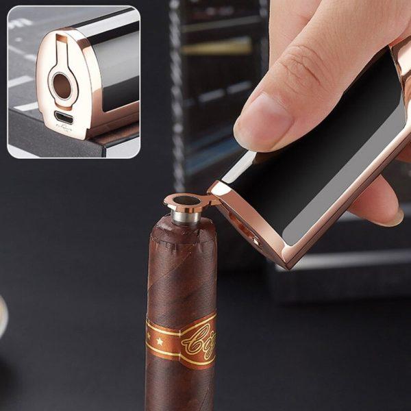 Briquet Tempête USB à Double Arcs Coupe-cigare