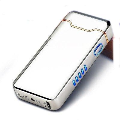 Briquet USB Plasma Affichage LED Argenté gris