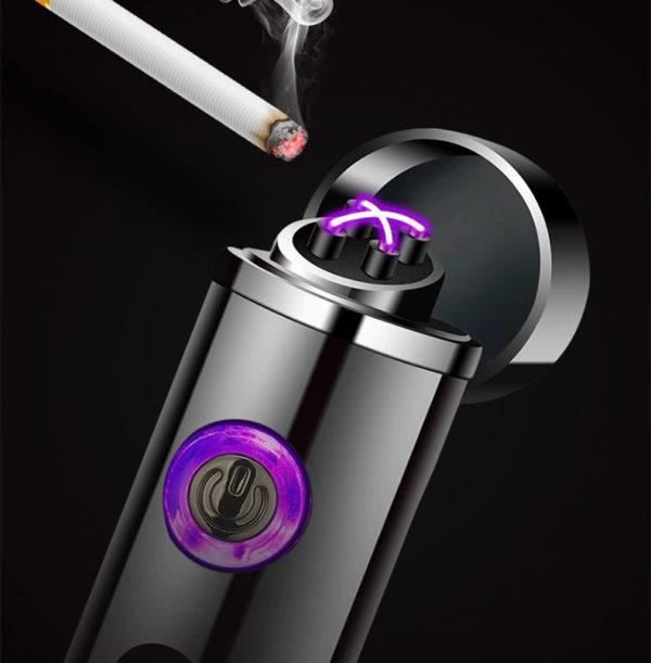 Mini Briquet USB Cylindrique Rechargeable Cigarette