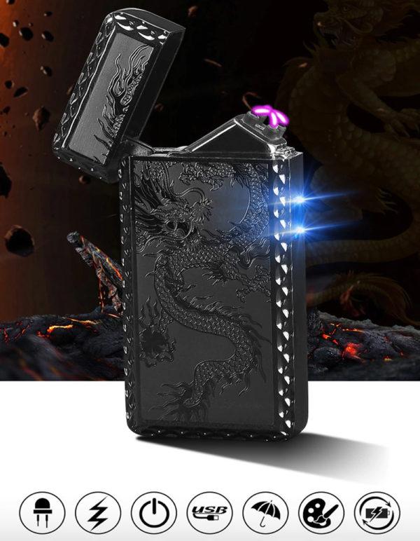 Briquet Électrique USB à Double Arc Fonctions