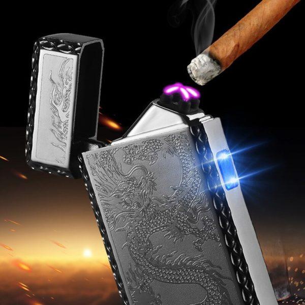 Briquet Électrique USB à Double Arc Cigare