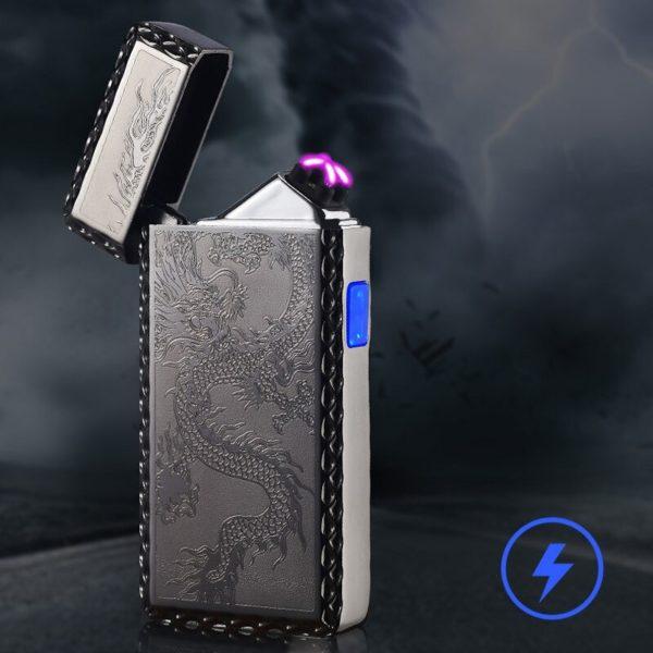 Briquet Électrique USB à Double Arc Tour Dragon Ouvert