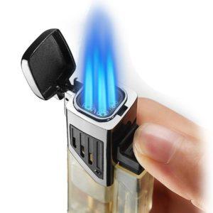 Briquet Cigare Flamme Bleu Turbo 4 Jets
