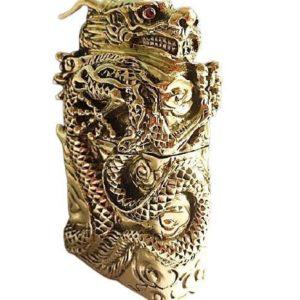 Briquet Essence Armure en Or Dragon Sculpté Main