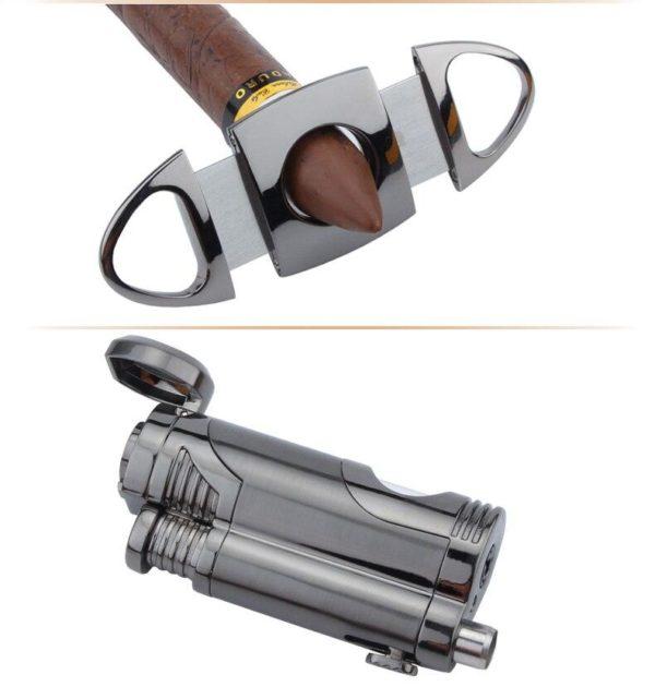 Briquet Torche Cohiba et Coupe-Cigare Guillotine en Acier