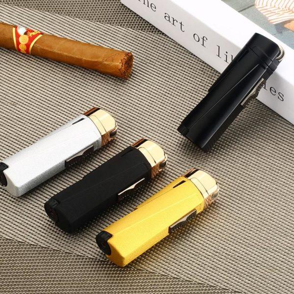 Briquet Cigare avec Meule à Pierre et Flamme 3 Jets