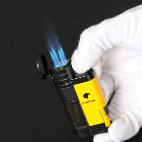 Briquet à Cigare COHIBA Flamme bleue 4 Jets
