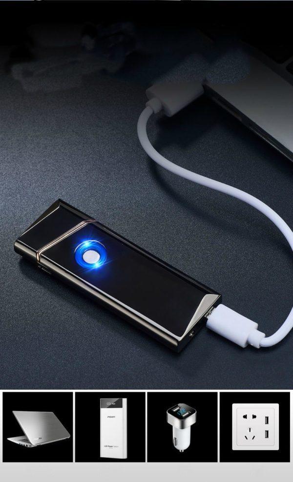 Briquet USB Ultra Fin Résistant au Vent avec Fil de Tungstène