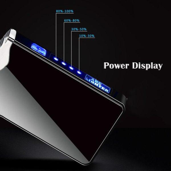 Briquet USB Double Arcs Plasma Affichage LED