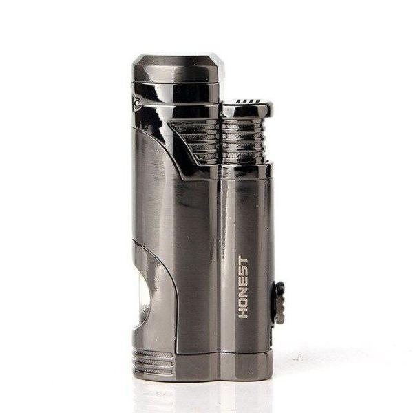 Briquet à Cigare en Métal avec Trois Jets Torche et Accessoires