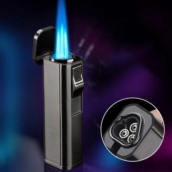 Briquet à Cigare Puissante Flamme à 3 Jets avec Coupe-Cigare