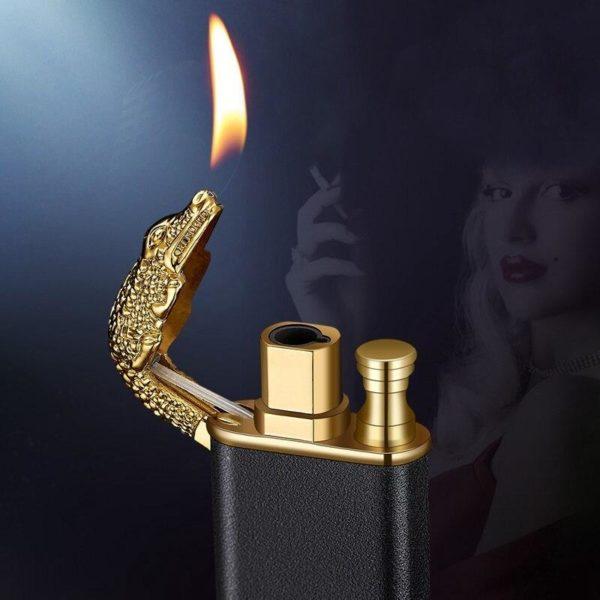 Briquet Métallique à Double Flamme Crocodile ou Dauphin