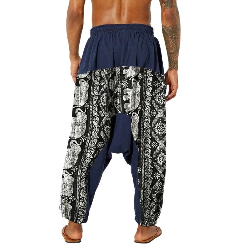 Pantalon Sarouel Streetwear bleu arrière - rastafarishop.fr