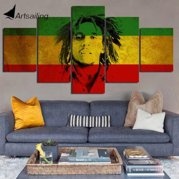Impression Décorative 5 Pièces Bob Marley