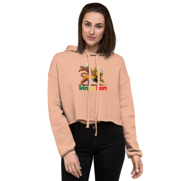 womens cropped hoodie peach front 607067584878d