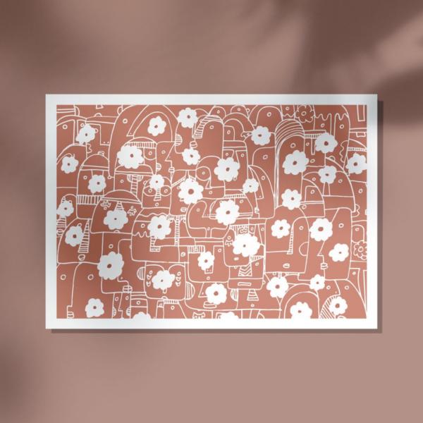 affiche deco fleurs rose terracotta