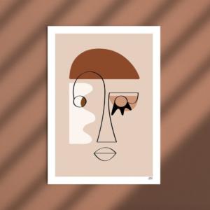 affiche deco visage rose terracotta