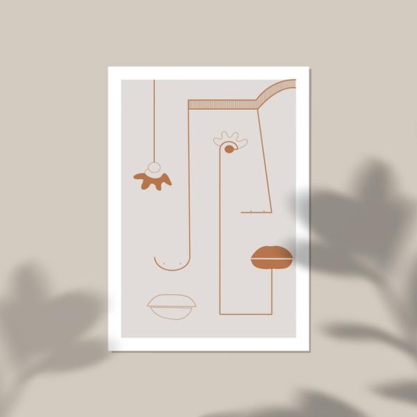 affiche deco visage abstrait terracotta decoration boheme